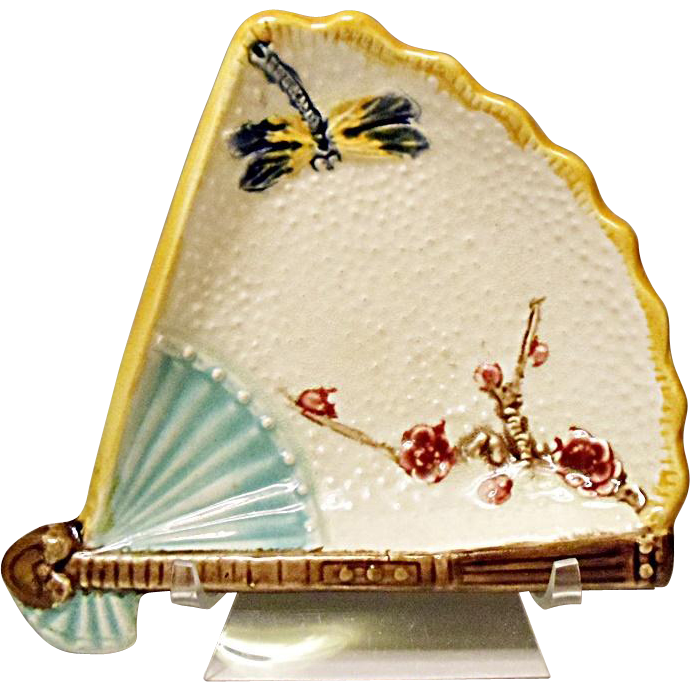 "SALE - SAVE 15% - Antique Majolica 7"" Fan Plate Featuring A Gorgeous Dragonfly and Prunus Branch"