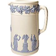 Vintage Wedgwood 24 Ounce Embossed Queen's Ware Jug - Lavender on Cream - Classic Design
