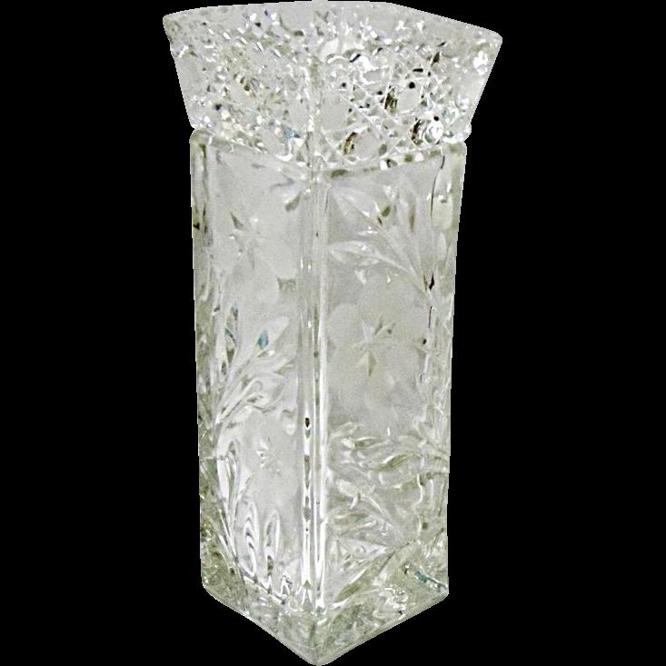 Very Vintage McKee Cut Glass #410 Innovation Line Square Vase