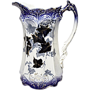 SALE - SAVE 15% - Victorian Flow Blue Milk Jug - Ivy Pattern - Late 1800's