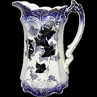 SALE - SAVE 15% - Victorian Flow Blue Milk Jug - Ivy Pattern - Late 1800's