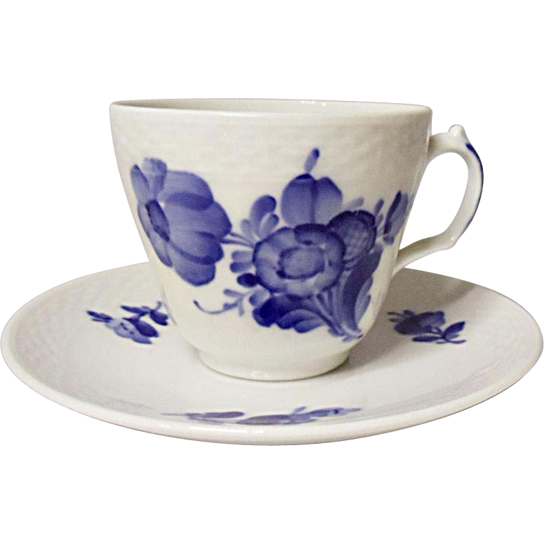 Vintage Royal Copenhagen Blue Flowers Porcelain Demitasse Set