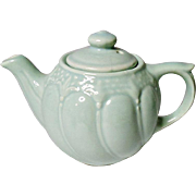 Vintage - Tea For One - Fleur De Lis - Mint Green Pottery Teapot - Restaurant