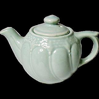 Vintage - Tea For One - Fleur De Lis - Mint Green Pottery Teapot - Restaurant