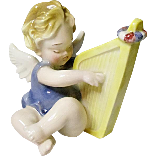 Vienna Austria Angel With Harp - Angel Band Figurine