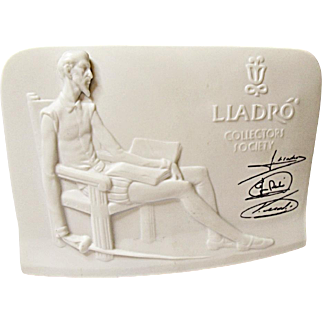 1985 Lladro Collectors Society Porcelain Store Advertising Display Logo Sign