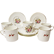 SALE - SAVE 15% - Royal Worcester - Five Vintage Demitasse Sets - Bone China - Floral Bouquet Pattern RW211 - Bournemouth