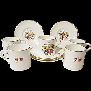 Royal Worcester - Five Vintage Demitasse Sets - Bone China - Floral Bouquet Pattern RW211 - Bournemouth