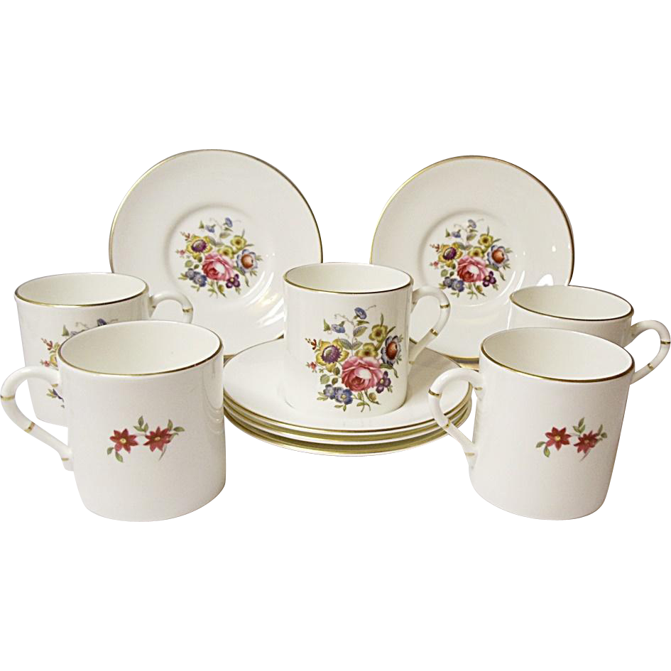 Royal Worcester - Five Vintage Demitasse Sets - Bone China - Floral Bouquet Pattern RW211 - Bournemouth