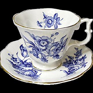 Vintage Royal Albert English Bone China Tea Set - Blue Floral on White - Ca. 1970's