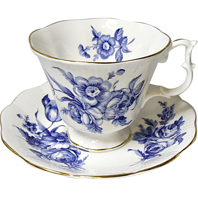 Vintage Royal Albert English Bone China Tea Set - Blue Floral on White - Ca. 1970's