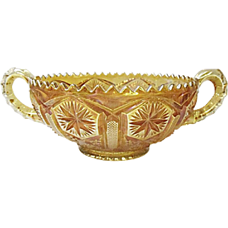 Very Vintage Imperial Carnival Glass - Star and File - Marigold Two-Handled Bowl