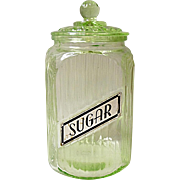 Depression Era Anchor Hocking Green Ribbed Sugar Jar - Canister
