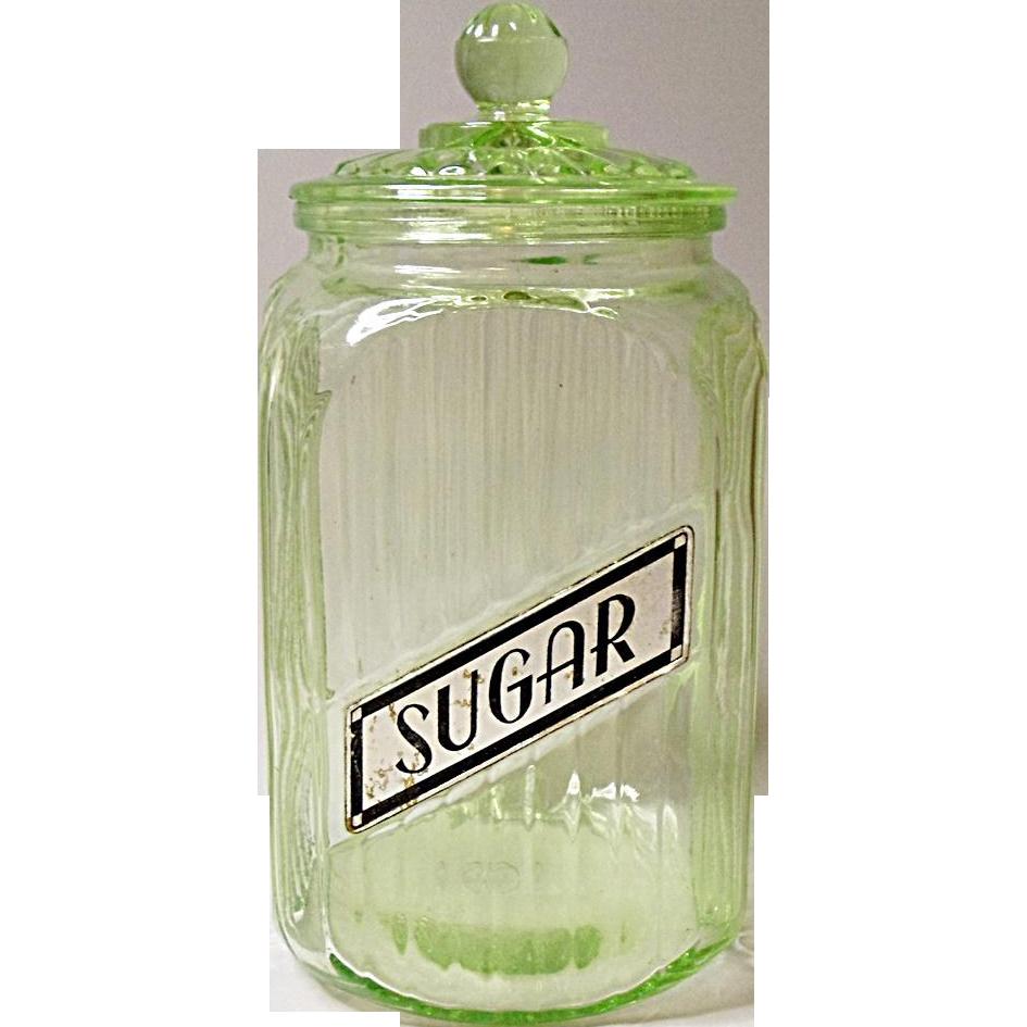 Depression Era Anchor Hocking Green Ribbed Sugar Jar - Canister