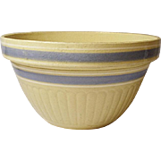 """Very Vintage 9"""" Yellow Ware Shoulder Bowl Country Blue and Off-White Bands - Ribbed"""