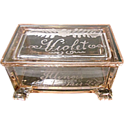 Vintage Illinois State Fair Souvenir - 1929 - Treasure Chest Trinket Box - Westmoreland Glass - Violet - Red Tag Sale Item