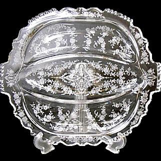 Vintage Tiffin Cherokee Rose 3 Part Relish - Elegant - 1940's - 1950's