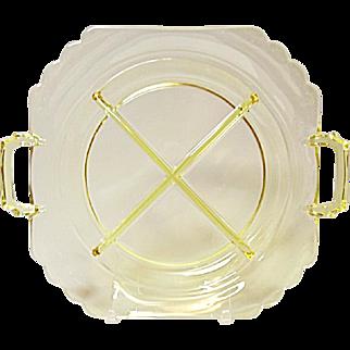 Elegant Art Deco - Fostoria Mayfair 4 - Part Handled Relish Tray - Topaz/Gold Tint   -  1931-1938