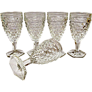 Vintage - Five - Fostoria American Hexagon Footed Water Goblets Pattern #2056