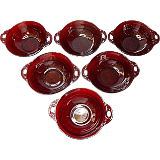 Vintage - Hocking Royal Ruby Red Coronation Handled Berry Bowls