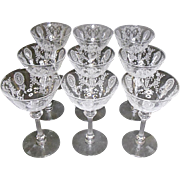 SALE - SAVE 20% - Tiffin June Night Saucer Champagne / Tall Sherbets Set of 9