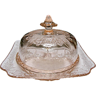 Jeannette Glass Co. - Adam Pattern - Pink Depression Covered Butter Dish - Keeper