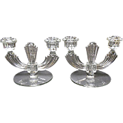 Vintage Pair Tiffin / U.S. Glass Elegant Crystal Two Light Candle Holders - Floral Motif
