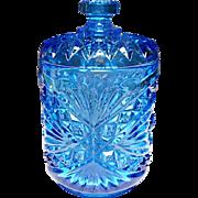 Imperial Glass - Hobstar - Roanoke Star - Antique Blue Americana Jar #282/1