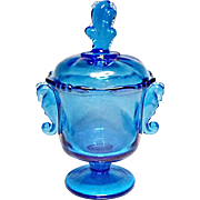 Heisey By Imperial Antique Blue Covered Waverly Footed Candy Jar - Urn