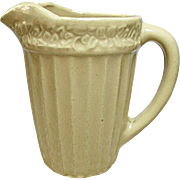 Vintage Tan Stoneware - Yellow Ware - Pottery Milk Pitcher - Jug - Ribbed With Flower Ring Band