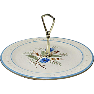 Vintage Stangl Hand Painted Blue Daisy Handled Serve Plate