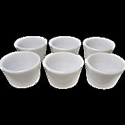 Six Vintage Milk Glass Custard Cups - Ramekins