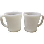 Vintage Pair - Hocking Fire King 8 ounce D Handle Milk Glass Mugs