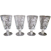 Fostoria - Depression Era - Four Elegant Willow 12 Ounce Iced Tea Footed Tumblers 1939-1944