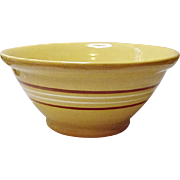 "Very Vintage Early 20th Century - 10"" Banded Yellow Ware Pottery Bowl"