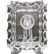 Hugh Scott Crystal Ashtray Souvenir Etched Signature & Senate Seal - Fostoria Glass