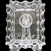 Hugh Scott Crystal Ashtray Souvenir Etched Signature & Senate Seal - Fostoria Glass