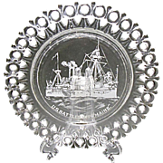 1890's U.S. Battleship Maine Commemorative Egg and Dart Pressed Glass Plate