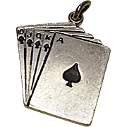 Vintage Sterling Silver Charm - Royal Flush In Spades - Playing Cards