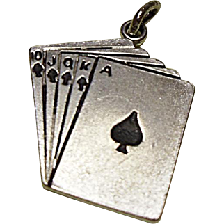 FREE Ship - Vintage Sterling Silver Charm - Royal Flush In Spades - Playing Cards