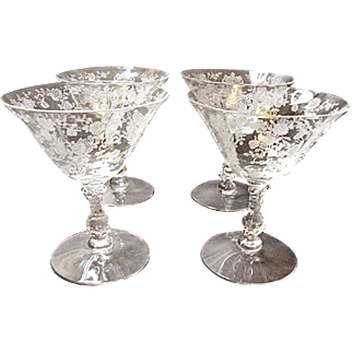 Vintage Set of Four Cambridge Low Footed Rose Point Sherbet Goblets #3121