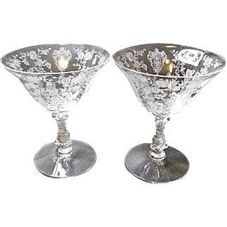 Vintage Set of Two Cambridge Low Footed Rose Point Sherbet Goblets #3121