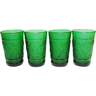 Vintage Anchor Hocking Forest Green Sandwich Juice Tumblers