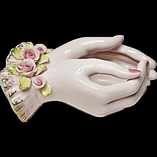 Vintage Lefton Double Lady Hands Vase - Rose Bowl - Trinket Dish - Porcelain Roses