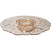 Vintage - L. E. Smith - Mount Pleasant Footed Cake Plate No. 515 - Depression Era - Cut Decoration