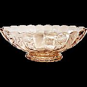 """VHTF - Heisey Old Sandwich 12"""" Flamingo Rose Pink Floral Bowl - Depression Era Elegant Glass"""