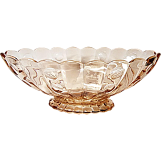 "VHTF - Heisey Old Sandwich 12"" Flamingo Rose Pink Floral Bowl - Depression Era Elegant Glass"