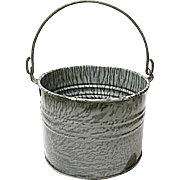 St. Louis Stamping Co. Granite Ware Pail - Berry Bucket - Gray Enameled Agateware