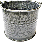 Very Vintage Gray Graniteware Child Size Berry Bucket - Agate Ware