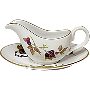 Royal Worcester - Evesham Gold - Fine Porcelain Individual Gravy Boat And Under Plate